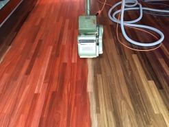 In nieuwegein hebben we deze paddock vloer stofvrij geschuurd en gelakt met pall 89
